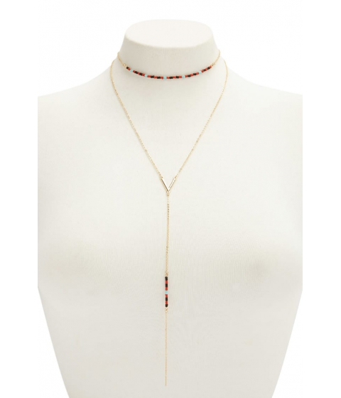Bijuterii Femei Forever21 Beaded Drop Chain Necklace GOLDRED