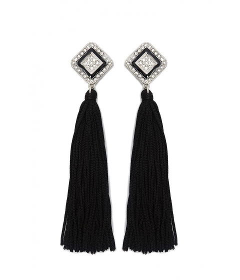 Bijuterii Femei Forever21 Rhinestone Tassel Drop Earrings SILVERBLACK