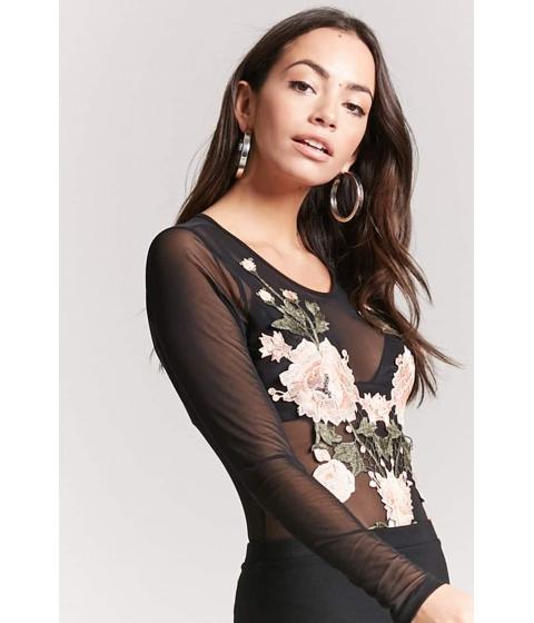Imbracaminte Femei Forever21 Sheer Floral Mesh Bodysuit BLACK