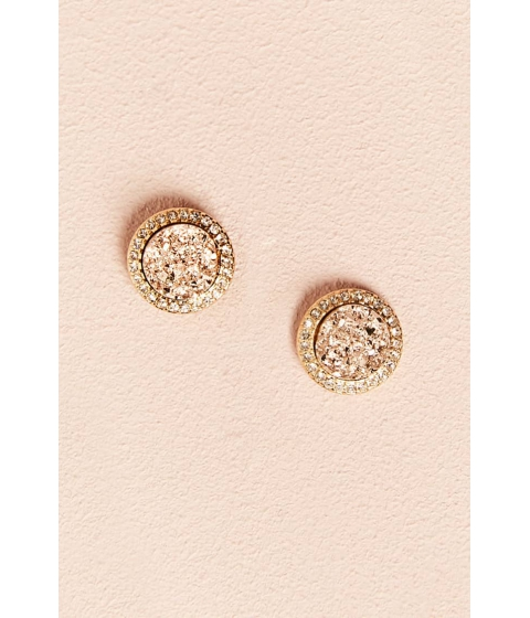 Bijuterii Femei Forever21 Rhinestone Geode Stud Earrings GOLD