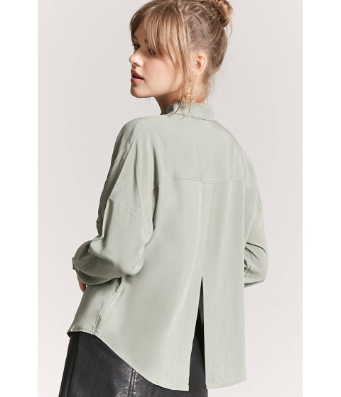 Imbracaminte Femei Forever21 Basic Woven Tulip-Back Shirt LIGHT OLIVE