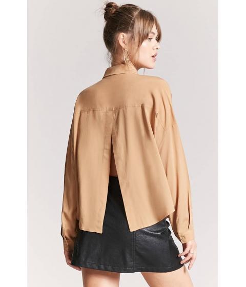 Imbracaminte Femei Forever21 Basic Woven Tulip-Back Shirt CAMEL