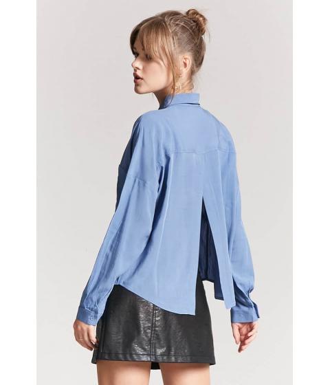 Imbracaminte Femei Forever21 Basic Woven Tulip-Back Shirt BLUE