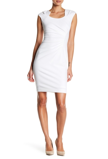 Imbracaminte Femei Modern American Designer Horseshoe Neck Stretch Dress WHITE