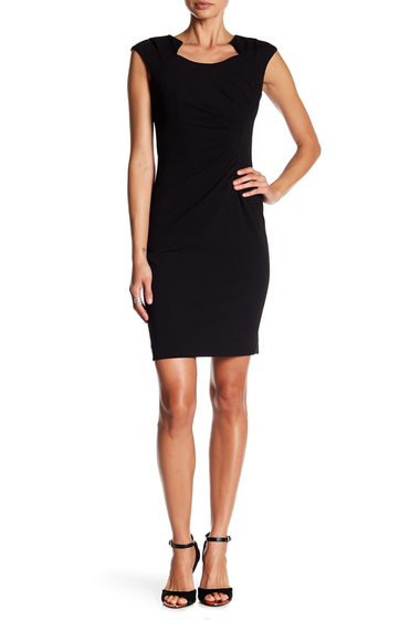 Imbracaminte Femei Modern American Designer Horseshoe Neck Stretch Dress BLACK
