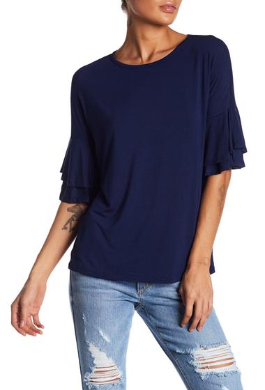 Imbracaminte Femei Bobeau Tiered Bell Sleeve Knit Tee NAVY