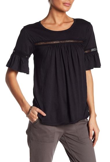 Imbracaminte Femei Bobeau Bell Sleeve Crochet Lace Insert Tee BLACK