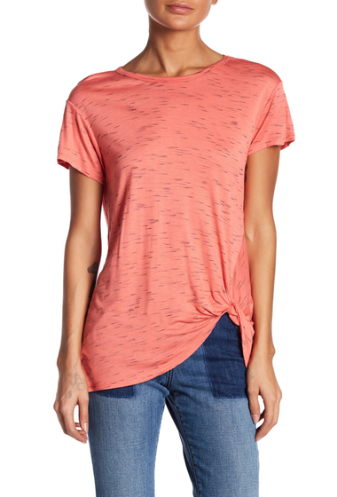 Imbracaminte Femei Bobeau Heathered Knot Front Knit Tee CORAL H