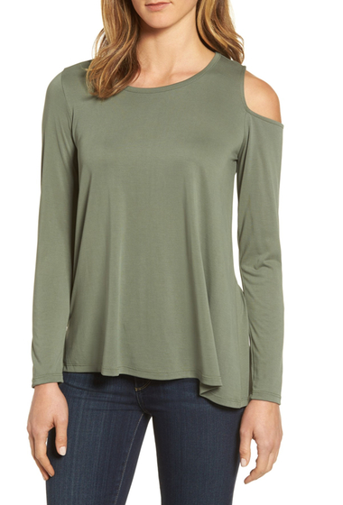 Imbracaminte Femei Bobeau Single Cold Shoulder Top OLIVE