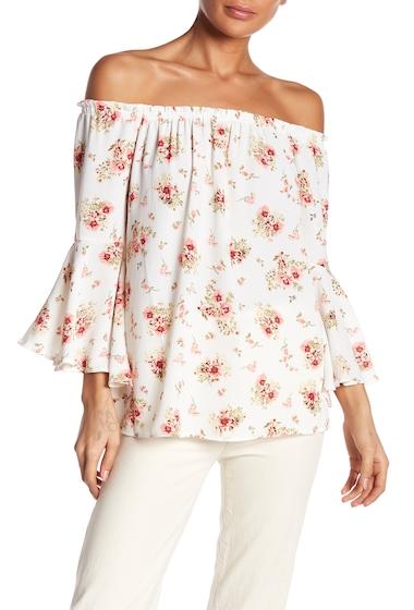 Imbracaminte Femei Bobeau Floral Bell Sleeve Blouse ST15370 EGGSHELLCOR