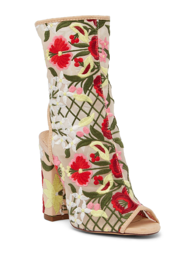 Incaltaminte Femei LILIANA Sage Floral Embroidered Cutout Boot NUDE