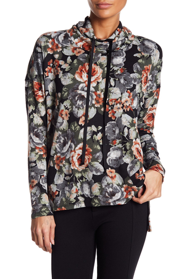 Imbracaminte Femei Bobeau Cowl Neck Floral Printed Pullover BLACK FLORAL