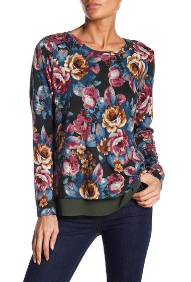 Imbracaminte Femei Bobeau Floral Open Back Sweater BLUE FLORAL