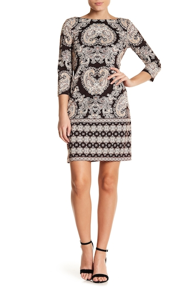 Imbracaminte Femei London Times Printed Ponte Foulard Shift Dress BRWN BLUSH