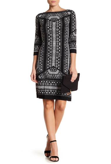 Imbracaminte Femei London Times Printed Geo Shift Dress WHITE BLK