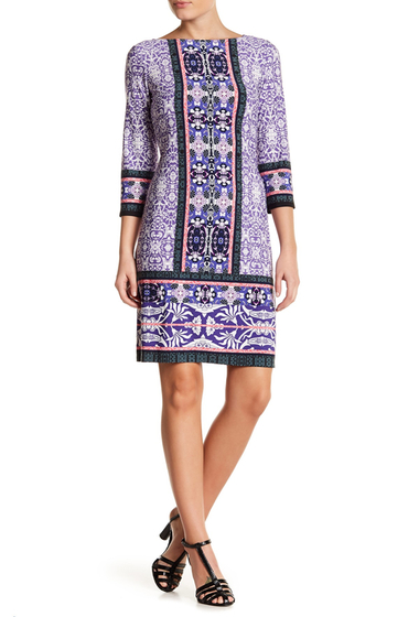 Imbracaminte Femei London Times Printed Leaf Medallion Shift Dress PURPLE
