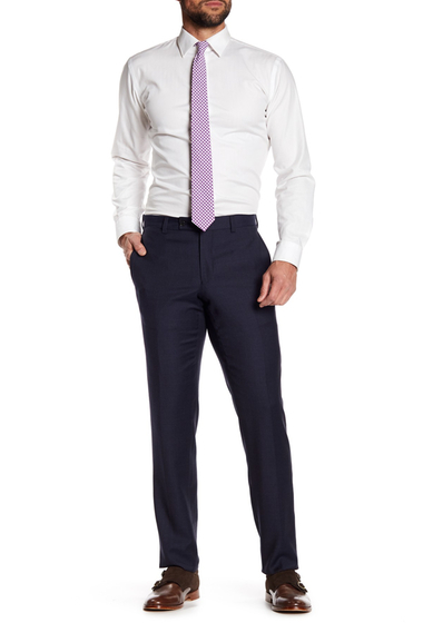 Imbracaminte Barbati Ted Baker London Jarrett Blue Check Flat Front Trim Fit Wool Pants BLUE