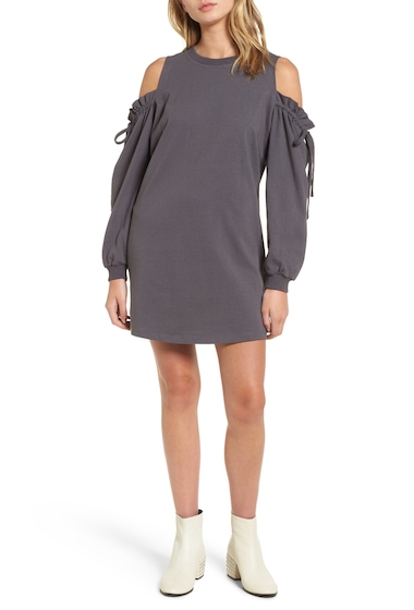 Imbracaminte Femei Lush Cold Shoulder Sweatshirt Dress CHARCOAL