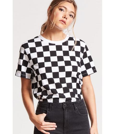 Imbracaminte Femei Forever21 Checkered Print Tee BLACKWHITE