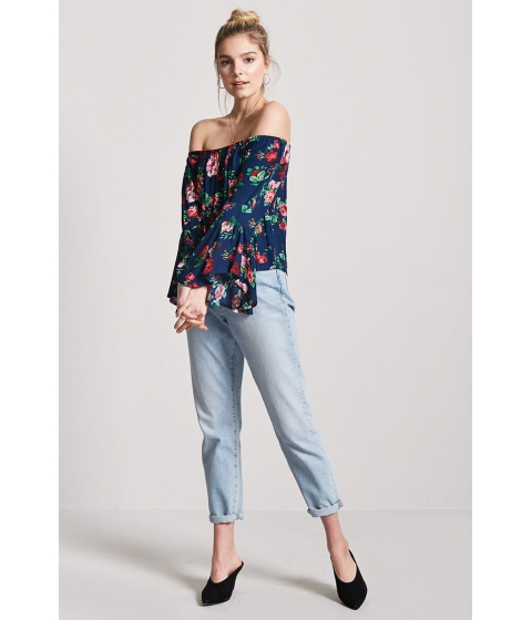 Imbracaminte Femei Forever21 Floral Print Off-the-Shoulder Top NAVY