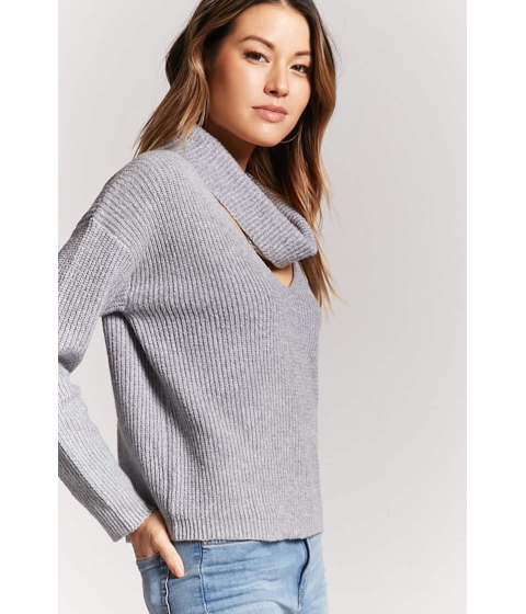 Imbracaminte Femei Forever21 Ribbed Cutout Cowl Neck Sweater HEATHER GREY