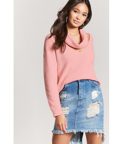 Imbracaminte Femei Forever21 Ribbed Cutout Cowl Neck Sweater LIGHT PINK