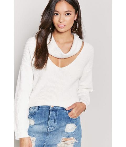Imbracaminte Femei Forever21 Ribbed Cutout Cowl Neck Sweater CREAM