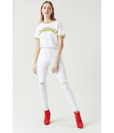 Imbracaminte Femei Forever21 Sculpted High-Rise Knee Slit Skinny Jeans WHITE