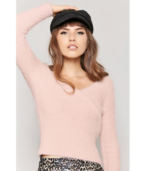 Imbracaminte Femei Forever21 Fuzzy Surplice Sweater LIGHT PINK