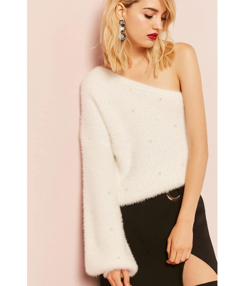 Imbracaminte Femei Forever21 Faux Pearl One-Shoulder Sweater IVORY
