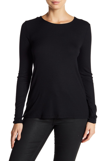 Imbracaminte Femei Harlowe Graham Long Sleeve Ribbed Lace Up Back Tee BLKBLK TIE