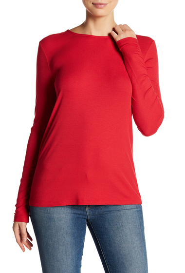 Imbracaminte Femei Harlowe Graham Long Sleeve Ribbed Lace Up Back Tee REDBLK TIE