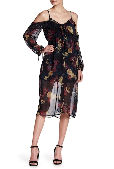 Imbracaminte Femei Band of Gypsies Long Sleeve Cold Shoulder Floral Print Chiffon Dress BLACK WINE