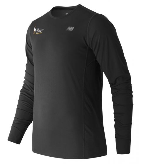 Imbracaminte Barbati New Balance Mens NYC Marathon Training LS Tee Black with Black