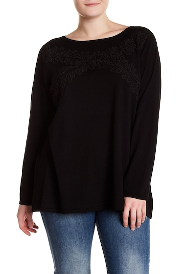 Imbracaminte Femei Cable Gauge Lace Accent Knit Sweater Plus Size BLACK