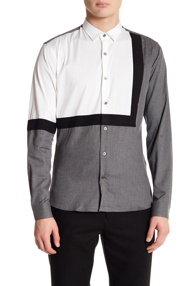 Imbracaminte Barbati DAVID NAMAN Contrast Slim Fit Shirt WHITE