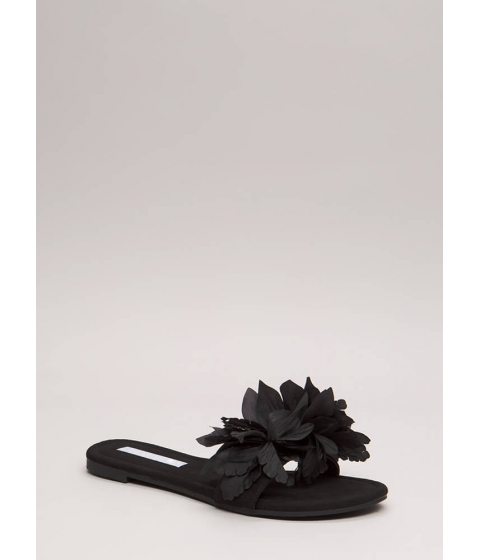Incaltaminte Femei CheapChic Flower Power Faux Suede Slide Sandals Black