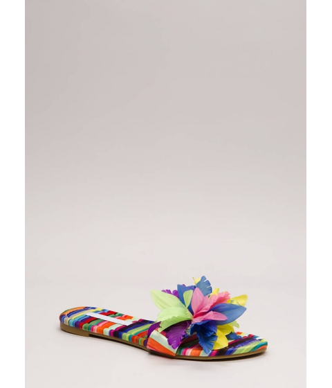 Incaltaminte Femei CheapChic Flower Power Faux Suede Slide Sandals Multi