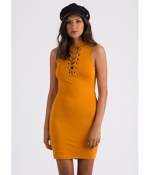 Imbracaminte Femei CheapChic Just The Ticket Faux Lace-up Dress Mustard