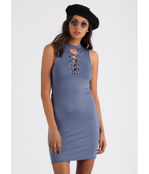 Imbracaminte Femei CheapChic Just The Ticket Faux Lace-up Dress Slate
