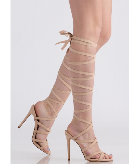 Incaltaminte Femei CheapChic Im A Wrap Superstar Lace-up Heels Nude