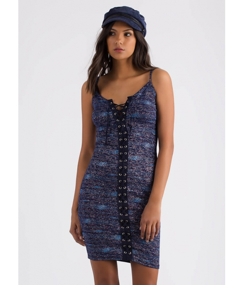 Imbracaminte Femei CheapChic Pack A Punch Glittery Lace-up Dress Navy