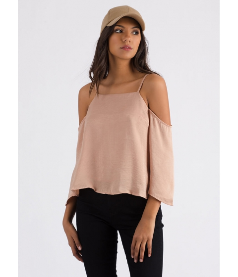 Imbracaminte Femei CheapChic Up Or Down Flared Cold-shoulder Top Champagne