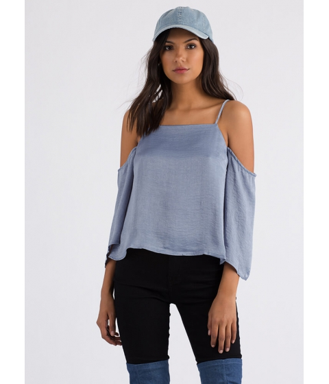 Imbracaminte Femei CheapChic Up Or Down Flared Cold-shoulder Top Slate