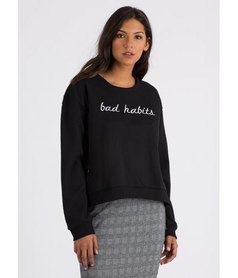Imbracaminte Femei CheapChic Bad Habits Side-tied Sweatshirt Black