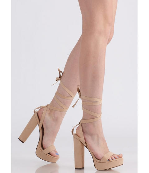 Incaltaminte Femei CheapChic Wrap Song Faux Suede Lace-up Platforms Nude