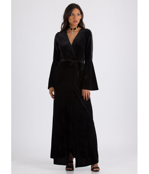 Imbracaminte Femei CheapChic Wrapped In Velvet Bell Sleeve Maxi Dress Black