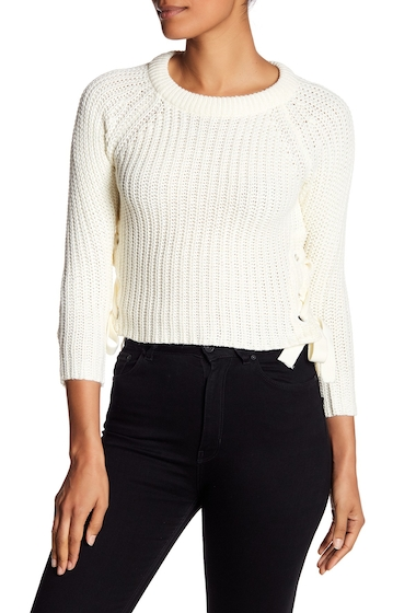 Imbracaminte Femei Poof Side Lace Up Grommet Sweater IVORY BLACK
