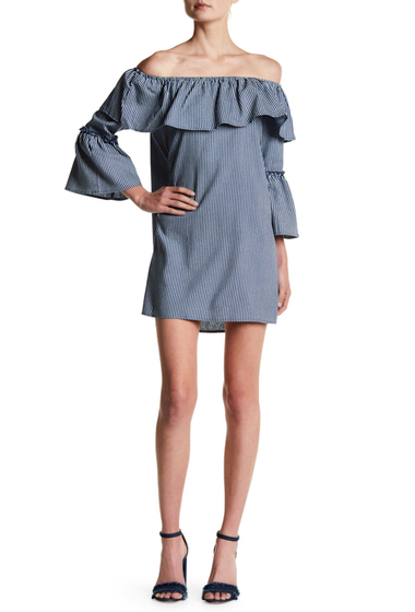 Imbracaminte Jealous Tomato Striped Bell Sleeve Ruffle Dress BLUE-WHITE