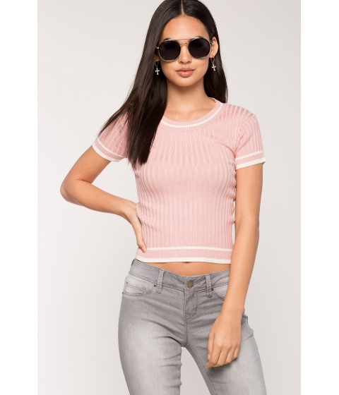 Imbracaminte Femei CheapChic Solid Line Contrast Ribbed Tee Blush